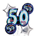 50th Birthday Balloon Bouquet 5pc - Oh No!