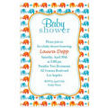 Baby Elephant Pattern Boy Custom Invitation