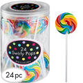 Swirly Rainbow Lollipops 24pc