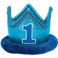 Plush Blue 1st Birthday Crown