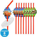 Cars Straws with Lids 8ct