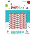 Pink Candy Stripe Birthday Candles 2in 24ct