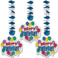 Happy Birthday Dangling Cutouts 3ct - Balloon Party