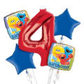 Sesame Street 4th Birthday Balloon Bouquet 5pc