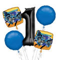 Batman 1st Birthday Balloon Bouquet 5pc