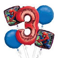 Spider-Man 3rd Birthday Balloon Bouquet 5pc