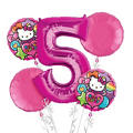 Rainbow Hello Kitty 5th Birthday Balloon Bouquet 5pc