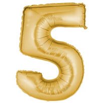 Number 5 Metallic Gold Foil Balloon 34in