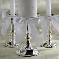 Silver Wedding Unity Candle Holder Set