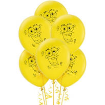Latex SpongeBob Balloons 12in 6ct
