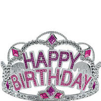 Pink Rhinestone Happy Birthday Tiara