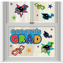 Prismatic Dazzling Grad  Vinyl Window Decorations 13ct