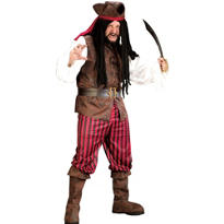 Adult High Seas Buccaneer Pirate Costume Plus Size