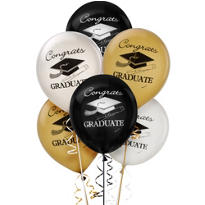 Assorted Latex Graduation Balloons 12in 15ct