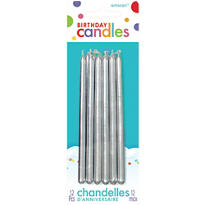 Silver Taper Candles 12ct