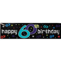 The Party Continues 60th Metallic Giant Sign Banner 65in x 20in