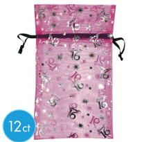 Sweet 16 Sparkle Organza Bags 12ct