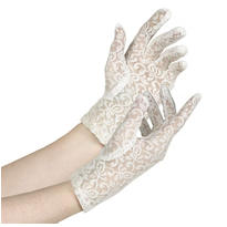 Womens White Lace Gloves
