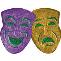3D Glitter Comedy & Tragedy Mask Decoration 21in