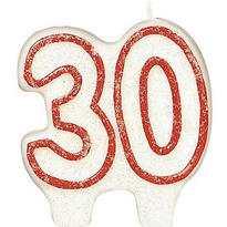 Red Outline Glitter Number 30 Birthday Candle