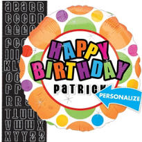 Happy Birthday Balloon - Personalized Dots