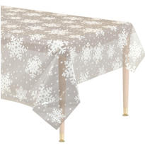Snowflake Clear Plastic Table Cover 54in x 108in