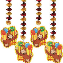 Curious George 28in Dangling Cutouts 4ct