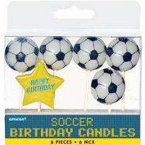 Soccer Birthday Candles 6ct