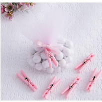 Pink Clothespin Baby Shower Favor Charms 24ct