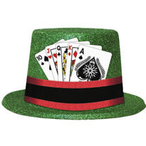 Glitter Top Hat with Playing Cards