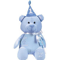 Blue 1st Birthday Autograph Bear