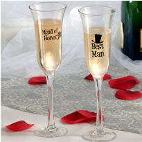 Best Man and Maid of Honor Wedding Toasting Glasses