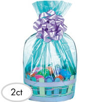 Aqua Cello Basket Bags 2ct