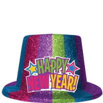 Jewel Tone Glitter New Years Top Hat 5in