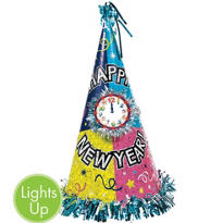 Countdown Celebration Light Up Cone Hat 13in