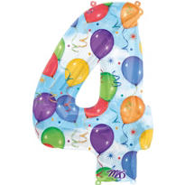Number 4 Celebration Foil Balloon 34in