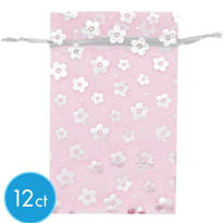 Pink Floral Organza Bags 12ct
