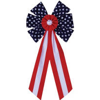 Fabric Flag Bow 28in
