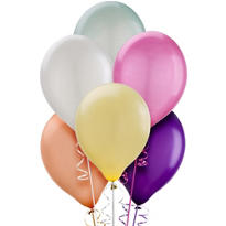 Assorted Pearlized Latex Balloons 12in 10ct