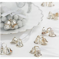 Silver Double Bell Wedding Favor Charms