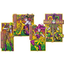 Mardi Gras Jesters Cutouts 17 1/2in 4ct