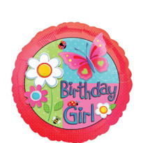 Foil Garden Girl Birthday Balloon 18in