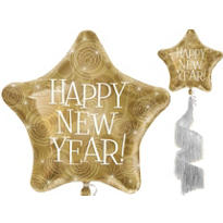 Gold Star Tail New Years Balloon 50in
