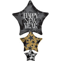 Foil Star Stack Happy New Year Balloon 42in