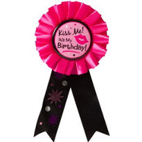 Kiss Me It's My Birthday Award Ribbon
