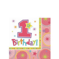 One-Derful Girl 1st Birthday Beverage Napkins 16ct