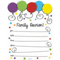 Balloons Family Reunion Invitations 20ct