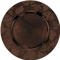 Brown Embossed Round Plastic Charger 14in
