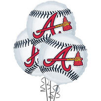 Atlanta Braves Balloons 18in 3ct