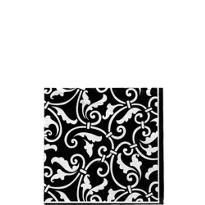 Black Ornamental Scroll Beverage Napkins 16ct